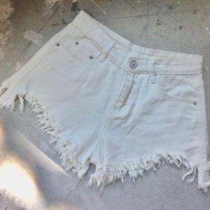 Pants - White denim high waisted jean shorts